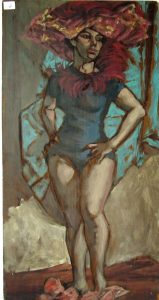 6. Herbert Leopold oil on wooden board double painting, 24 by 12 inches, unsigned. Condition: losses, edge losses.$125.