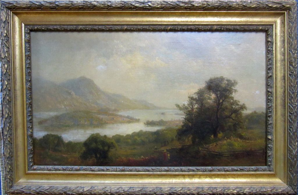 """Lot 40. *Sanford R. Gifford oil on canvas, """"Lake George looking South East, Brailey Point,"""" 14 by 24 inches, signed lower left, """"S. R. Gifford, framed. Condition: good lined condition, minor retouch center right, signed lower left, """"S. R. Gifford,"""" framed.Est. $20,000-40,000"""